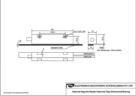 Mechanical Drawing of EMA21 Absolute Magnetic Encoder System