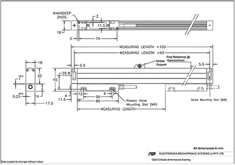 Mechanical drawing of optical linear encoder GS212